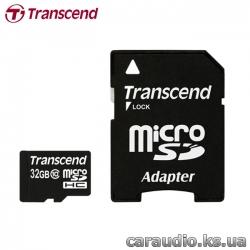 Transcend 32 GB microSDHC class 10 + SD Adapter фото